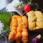 市場食堂 さかなや - ウニの食べ比べ!ムラサキ雲丹とバフン雲丹