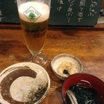 24707360 - 乾杯用ハートランド生ビールと卯の花&生わかめのしゃぶしゃぶ
