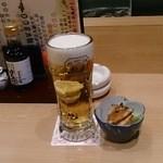 まぐろ居酒屋 さかなや道場   - 突出しと生ビール