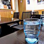 松葉 - 店内は壁に向ったカウンターとテーブル席が6卓