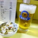 24730384 - 2014.03 ホッピーは無い、最初はビール、白菜づけ(170円)と一緒に。
