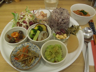 カフェごはん北の杜 - 日替わりランチ(メインは右上のキーマカレー、後は副材9種類)