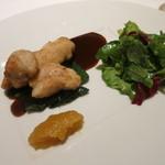 フランス料理 ラノー・ドール - 仔牛のリードヴォー マスタードソース、赤ワインたまりソース、林檎ピュレ