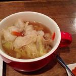 24736429 - 博多もつ鍋~GEKKO風スープ仕立て~(880円)。大きなカップで出てきますが、この容器もいちいちおしゃれ。野菜もたっぷりでしょ?
