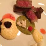 モダン和食 サル ドゥ マキノ - リブロース・とうもろこし・赤カブ・さんしょうの3種類のソースで