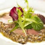 ドクトルカルネ - 牛タンのカルパッチョ仕立て マスタード風味のレンズ豆を添えて 900円