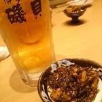 博多漁家 磯貝 - 付きだし&生ビール