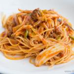 アクアマーレ - 【2014年3月訪問】サルシッチャと葉たまねぎのトマトソーススパゲティ