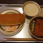 カフェ&バー ブルヴァール - コッペパンと脱脂粉乳と鯨カツのセット+マーガリン