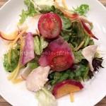 ヒラタパスタ - 10種類の野菜とゆで鶏の彩りサラダ