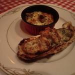 ぱぱみらの - 温かい前菜:牡蠣のオーブン焼き、野菜のグラタン