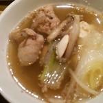 えり瀬 - 塩ちゃんこ(取り皿)。出汁は流石に美味かった。