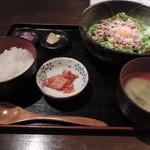 みなと屋 - ランチの釜玉みなと麺定食