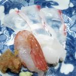 24809889 - 向付 淡路産真鯛 牡丹海老 墨烏賊 薬味おろしと供に