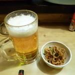 大須亭 - 2014.03 生ビールと一緒に出てきた突き出しがちょっと変わっていました。