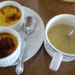 24812964 - デザートにたまごプリンとブリュレ。そして、たまごスープ。