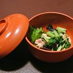 さらしな総本店 - 鴨のササミとわさび菜の霜降(600円)