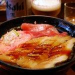 若狭家 - まぐろ・ネギトロ・穴子丼(840円)