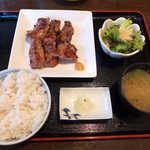 福光 - 麦めし豚ハラミ定食(¥790)。牛タン定食と似た構成を、庶民的な価格で実現