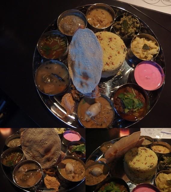 Spice&Dining KALA - カーラ・ミールス\2500。ビーツの入ったピンクのライタやゴーヤのポリヤルなど見た目も凄いし、牡蠣カレーなど素材も本格的