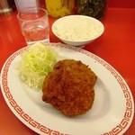 ラーメン魁力屋 - コロッケ&ミニライス(ランチのセットメニュー)