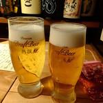 さかなや いぬい - アサヒ熟撰 生ビール(中):530円+アサヒ熟撰 生ビール(小):430円