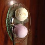 南風 - ブルーシールアイス ダブル(左 塩ちんすこう  右 紅イモ)