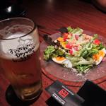 24977240 - サラダとビール