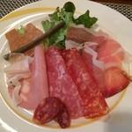 24995519 - ランチのトスカーナの前菜(ハム・サラミの盛り合わせ)※三種から選べます