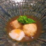 みや - 26年3月 河豚、京海老芋揚げ、温泉卵 黒トリュフ餡掛け