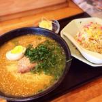 らーめん処よなかそば - 鶏白湯ラーメン  半炒飯セット780円