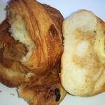 ヤシマヤ - 左より シナモン、チョコクロワッサン、ツナと長芋のパン断面UP♪
