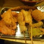 25013712 - 玉ねぎ、しし唐、大阪名物紅ショウガ、串カツ牛、煮卵、アスパラ、キス♪