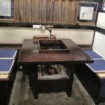 上村うなぎ屋 - 囲炉裏のテーブル席。       足元が暖かそうです。