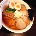25024170 - 煮干(あっさり)+トッピングチャーシュー2枚+メンマ+卵+大盛り=1,050円なり