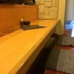 なお吉 - 座ったカウンターから右手、背側に掘り炬燵のテーブルが二つあります