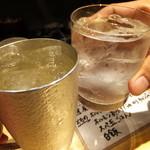 天平 - 山崎のハイボールでカンパ~イです。芋焼酎の伊佐美です。