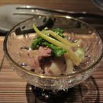 25068745 - 前菜 牛肉のしゃぶしゃぶとひろっこ・菜の花・ネギの和え物