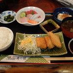 2511599 - 本日の定食(刺身とヒレカツ、700円)