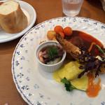 洋食屋料理番 - 本日のお魚ランチ@1,300(タイの白ワイン蒸し、カニクリームコロッケ、エビフライ)