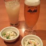 八剣伝 - お通し&梅酒カルピス&ピルスナー