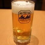 かつ楽 - 生ビール(中) 577円。
