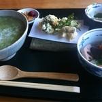 星野茶寮 - 料理写真:茶がゆセット(がめ煮・天ぷら・小鉢・お漬物)