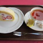 風の杜 - 本日のロールケーキと紅茶(レモン)