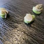 25331833 - 空豆の天ぷらと牡蠣の昆布〆☆