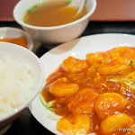 25333846 - 芝海老のチリソース定食【2013年11月】