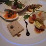 シェーヌ - 前菜:真鯛のカルパッチョ、芽キャベツのマリネ他