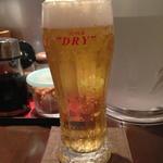 釜揚げうどん 鈴庵 - 夜すずなので、まずはビールで乾杯!!