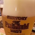 寿司海鮮 たはら - こちらのお店のビールは、アサヒ or プレモル。オーナーが、永ちゃんが好きだから、と言う理由「だけ」で、このサントリープレミアムモルツをお店に置くことになったそうな(笑)