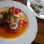 風の谷 - サービスランチ、帆立貝柱、海老と白身魚のソテー、白ワイン風味(¥1480)